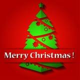Christmas origami tree decoration . Vector illustr Stock Photo
