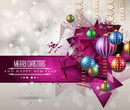Christmas original modern background template for seasonal cards,. Christmas original modern background template for invitations, seasonal cards, event posters Royalty Free Stock Photo