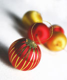Christmas ornament. A red ball close-up at christmas time Royalty Free Stock Photo