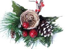 Christmas Ornament. Shot of a Christmas ornament. Nest, berries, pine cone stock photos
