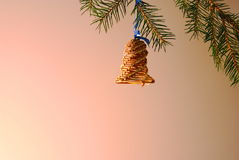 Christmas ornament. The handbell made of a willow rod - an ornament for the Christmas tree. Kachanov Vladimir's author's work Stock Photography