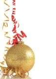 Christmas ornament. Gold colored Christmas ornament isolated on white royalty free stock photos