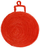 Christmas ornament. Pencil drawn red christmas ornament Stock Image