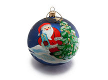Christmas ornament. With Santa Claus and Christmas tree represented on it Stock Photography