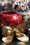 Christmas ornament. Close up, decoration with an evergreen background royalty free stock images