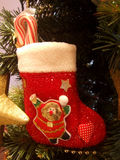 Christmas ornament. A red sock with candy on a Christmas tree Stock Image