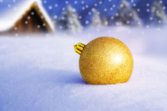 Christmas ornament. And landscape background Stock Photo