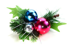Christmas ornament. With three Christmas balls on white background royalty free stock photos