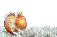 Christmas ornament. One round Christmas decorations with white backcloth Stock Photography