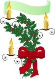 Christmas ornament. With holly berry and candles Stock Images