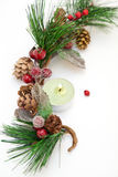 Christmas ornament. With pine cones and little candle Stock Photo