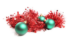 Christmas ornament. Chistmas ornamen, red balls and golden tinsel Stock Photo