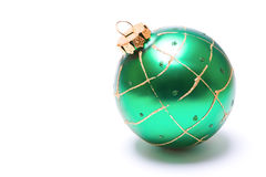 Christmas ornament. An isolated shot of a green christmas ornament stock photo