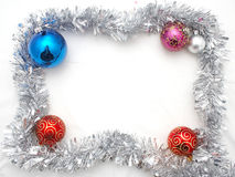 Christmas ornament. With red and blue balls- frame Royalty Free Stock Photos