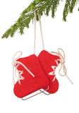 Christmas ornament. Ice skate Christmas ornament hanging on a tree royalty free stock photo