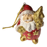 Christmas ornament. A ceramic figure of the santa claus on a white background Stock Photography
