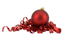 Christmas Ornament. On curled red ribbon, isolated on white stock photography