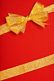 Gold Ribbon Christmas wrapping Stock Photo
