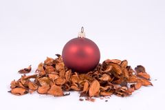 Christmas ornament. On pile of golden leaves Stock Photo