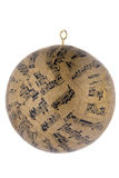 Christmas ornament. Round Christmas ornament with musical notes royalty free stock photography