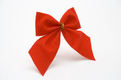 Christmas ornament. Red bow on white background Royalty Free Stock Images
