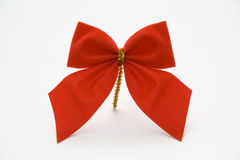 Christmas ornament. Red bow on white background Stock Photo