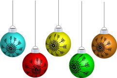Christmas ornament. Five christmas ornament on white background Royalty Free Stock Image