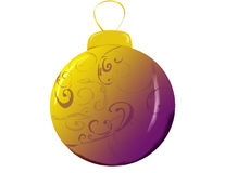 Christmas Ornament. Gold and Purple Round Christmas Ornament vector illustration
