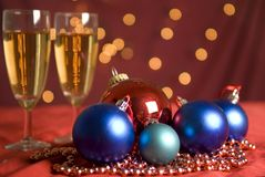 Christmas Ornament And Champagne Stock Images