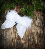 Christmas ornament Angel wings. On wooden background Royalty Free Stock Photography