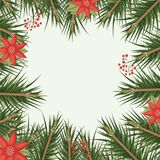 Christmas ornament background with colorful pine branches and red flowers. Vector illustration Royalty Free Stock Images
