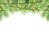 Christmas ornament background design element. Glowing lights Garlands Christmas tree decorations. Christmas garland realistic Vector illustration Royalty Free Stock Photos