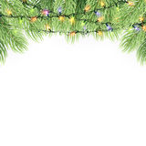 Christmas ornament background design element. Glowing lights Garlands Christmas tree decorations. Christmas garland realistic Vector illustration Royalty Free Stock Photography