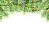 Christmas ornament background design element. Glowing lights Garlands Christmas tree decorations. Christmas garland realistic Vector illustration Royalty Free Stock Image