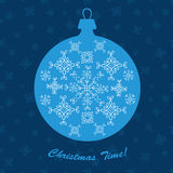 Christmas ornament ball new year decoration blue vector card. Royalty Free Stock Photography