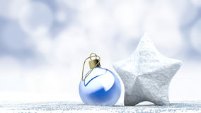 Christmas ornament ball and star on snow Royalty Free Stock Photos