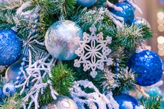 Christmas ornament ball for Xmas New Year festival decorate on pine tree background Stock Photo