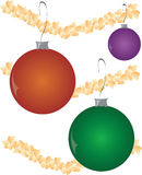 Christmas Ornament Balls. Illustrations of Christmas Balls with Popcorn garland. Also in .ai file royalty free illustration