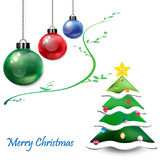 Christmas Ornament balls with Christmas tree Royalty Free Stock Images