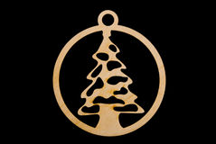 Christmas ornament on black - christmas tree Royalty Free Stock Photography