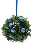 Christmas ornament, blue and silver elements Stock Photos