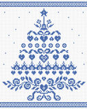 Christmas ornament blue tree vector seamless texture Stock Images
