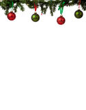 Christmas ornament border. A christmas ornament border with red and green glittered baubles hanging from garland with red and green ribbon Stock Images