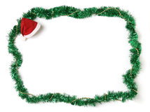 Christmas ornament border. With Santa hat royalty free stock image