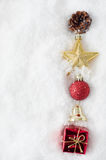 Christmas Ornament Border in Snow Stock Photography