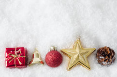 Christmas Ornament Border on Snow Royalty Free Stock Photography