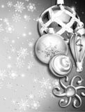Christmas ornament border w/snow Royalty Free Stock Photography