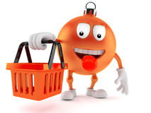 Christmas ornament character holding shopping basket Stock Images
