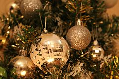 Christmas ornament on a christmas tree royalty free stock photo