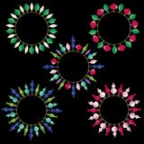 Christmas ornament circle frames  clipart. Colorful metallic christmas ornament circle frames  clipart Royalty Free Stock Photo